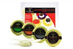 GUARANTEED OVERNIGHT! American Caviar SAMPLER Bowfin, Salmon, Paddlefish, Premium Sturgeon 1oz e ...