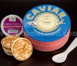 Beluga Sturgeon Hybrid Caviar Gift Set, Rated Top Black Caviar in the World