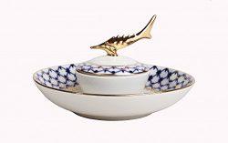 Lomonosov Russia Imperial Porcelain Beluga Caviar Dish Cobalt Net