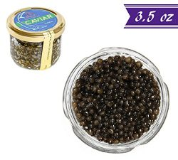 Kaluga Sturgeon Amber Caviar, Huso Dauricus, River Beluga, 3.5 oz / 100 gm Jar plus Mother of Pe ...