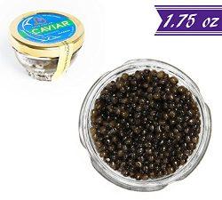 Kaluga Sturgeon Amber Caviar, Huso Dauricus, River Beluga, 1.75 oz / 50 gm Jar plus Mother of Pe ...