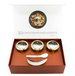 Marky's American Caviar Black Gift Box – 9 pcs. (Caviar 4 oz jars, Blini, Creme Frai ...