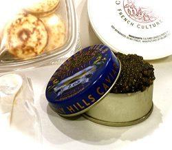 Osetra Caviar 100 grams with blinis and creme fraiche