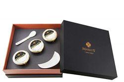 Marky's American Caviar Black Gift Box – 8 pcs. (Caviar 2 oz jars, Blini, Creme Frai ...