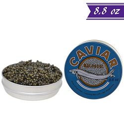 Premium Kaluga Sturgeon Amber Caviar, Huso Dauricus, River Beluga, 8.8 oz / 250 gm Tin plus Moth ...