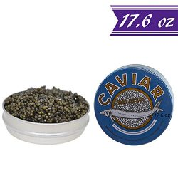 Premium Kaluga Sturgeon Amber Caviar, Huso Dauricus, River Beluga, 17.6 oz / 500 gm Tin plus Mot ...