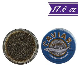 Premium American Paddlefish Caviar, Polyodon Spathula,17.6 oz / 500 gm Tin, Gourmet Spoonbill Ca ...