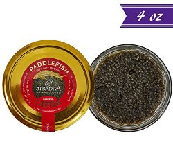 Premium American Paddlefish Caviar, Polyodon Spathula, 4 oz / 114 gm Jar, Gourmet Spoonbill Cavi ...