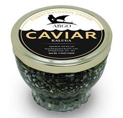 ARGO Black Caviar, Kaluga, Finest Malossol, Organic, Premium, Fresh, Overnight Shipping, 5.3 OZ  ...