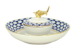 Lomonosov Imperial Porcelain Cobalt Net Tableware Teaware Collection (Beluga Caviar Dish)