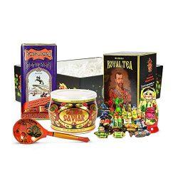 Premium Russian Gift Basket with Salmon Red Caviar, 1lb of Candies, Matryoshka Doll, Black Tea,  ...