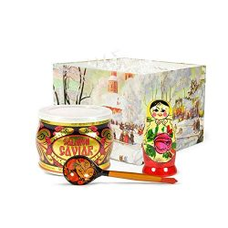 Caviar Gift Set with Salmon Red Caviar, Matryoshka Doll and Wooden Spoon – Russian Traditi ...