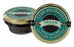 Tzar Caviar Vegan – Gourmet Seaweed Pearls – jar 3.7 oz Black Beluga Style