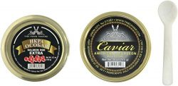 American Sturgeon Black Caviar Jar Light-Salted (Malossol) with Salmon Roe Extra Includes Pearl  ...