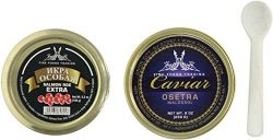 Russian Ossetra Sturgeon Caviar 9oz Jar Light-Salted (Malossol) with Salmon Roe Extra Includes P ...