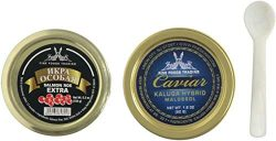 Siberian Ossetra Sturgeon Caviar 1.8oz Jar Light-Salted (Malossol) with Salmon Roe Extra Include ...