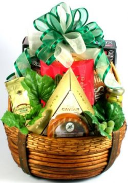 Executive Class Gourmet Salmon, Cheeses & Treats Gift Basket