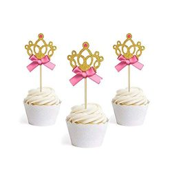 Newkelly Gold Glitter Princess Crown Tiara Cake Cupcake Toppers Picks for Party Decor