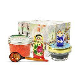 Luxury Caviar Gift Set – Sturgeon Black Caviar (2oz), Salmon Red Caviar (3.5oz), Matryoshk ...