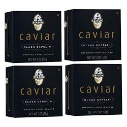 Season Black Capelin Caviar 2-Ounce, Glass Jar (Pack of 4)
