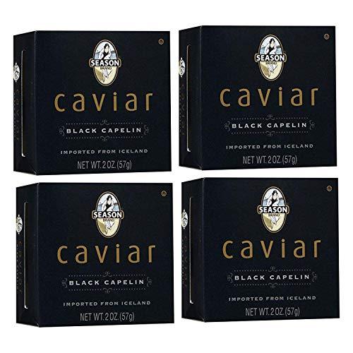 Season Black Capelin Caviar 2-Ounce, Glass Jar (Pack of 4)