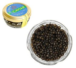 Kaluga Sturgeon Amber Caviar Huso Dauricus River Beluga 1 oz / 28 gr Jar w/Mother of Pearl Cavia ...