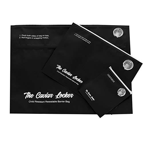 Caviar Locker – Mylar Smell Proof CR Exit Bags – Resealable Zipper – 100 Bags