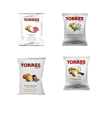 Torres Potato Chips Variety 1.4 oz bags Imported from Spain Black Truffle Iberico Ham Sparkling  ...