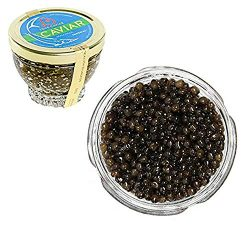 Kaluga Sturgeon Amber Caviar Huso Dauricus River Beluga 5.3 oz / 150 gr Jar w/Mother of Pearl Ca ...