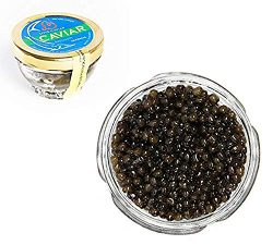 Kaluga Sturgeon Amber Caviar Huso Dauricus River Beluga 1.75 oz / 50 gr Jar w/Mother of Pearl Ca ...