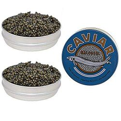Set of Kaluga and Ossetra Sturgeon Amber Caviars 17.6 oz / 500 gr each can BONUS 2 Jars of 5.3 o ...