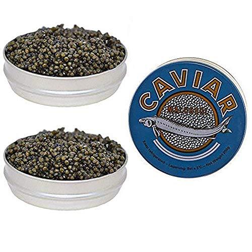 Set of Kaluga and Ossetra Sturgeon Amber Caviars 17.6 oz / 500 gr each can BONUS 2 Jars of 5.3 o ...