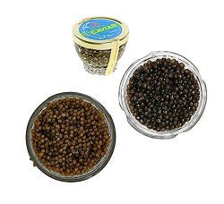 Set of Kaluga and Ossetra Sturgeon Amber Caviars 5.3 oz / 150 gr each jar Huso Dauricus River Be ...