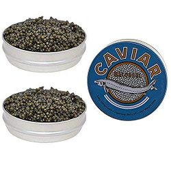 Set of Kaluga and Ossetra Sturgeon Amber Caviars 8.8 oz / 250 gr each Can Huso Dauricus River Be ...