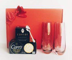 Valentine Wishes & Caviar Dreams! 3.5 Oz Black Capelin Caviar, 2.2 Oz Water Crackers! 2 Pink ...